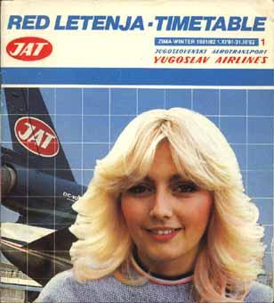 JAT timetable, 1981 (via timetableimages.com)