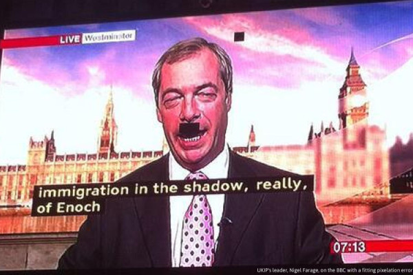 Nigel Farage Hitler Moustache, BBC