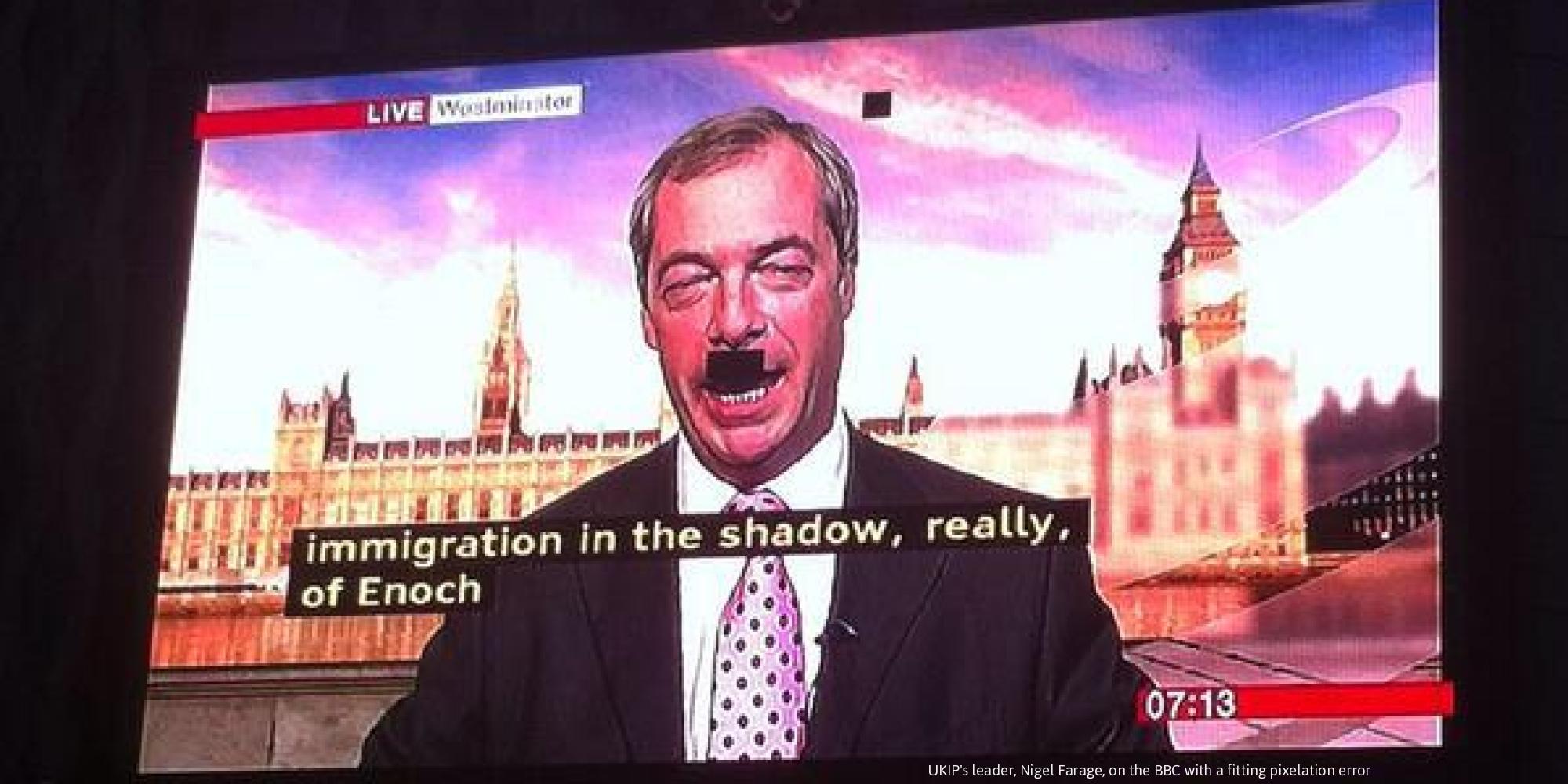 Nigel Farage Hitler Moustache, BBC