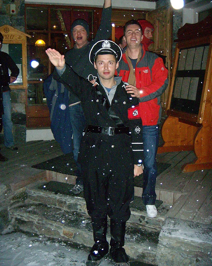 This is okay: British MP Aidan Burley attended a Nazi-themed stag party in 2011, with one Oxford friend (pictured) dressed in full SS regalia. (via http://www.thesun.co.uk)
