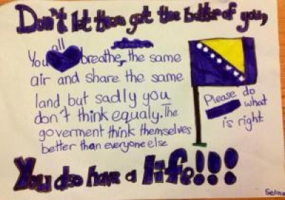 The second of Bronagh's three daughters decided to make her own poster. An eleven-year-old's message to Bosnia.
