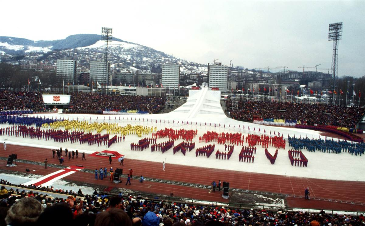 The opening ceremony of the 1984 Sarajevo Winter Olympics (Photo credit: AP)