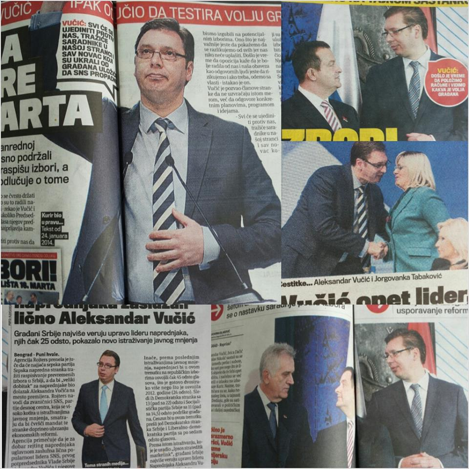 Vucic in various Serbian newspapers. After adopting a populist set of policies, his popularity skyrocketed.