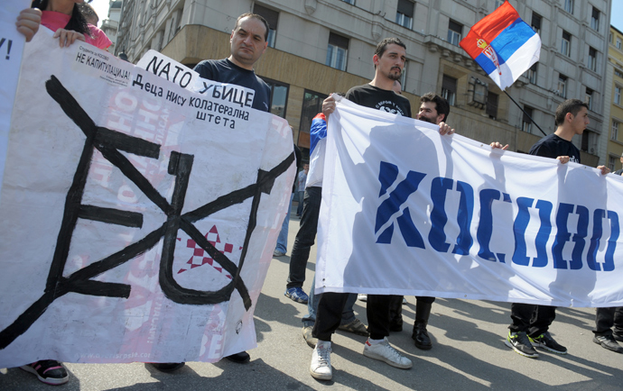 Nationalist anti-EU protesters at a gathering in Belgrade, Serbia, April 2013. (Photo credit: AFP Photo / Alexa Stankovic)