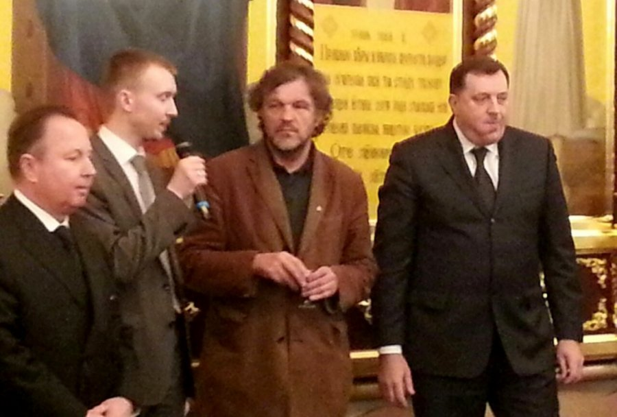 "Emir Kusturica and Dodik in Moscow, March 2014. Dodik (right) received an award from the Russian Orthodox Patriarch Kirill ""for his outstanding contribution to improving the unity of Orthodox Christian peoples and consolidating and promoting Christian values in society."""