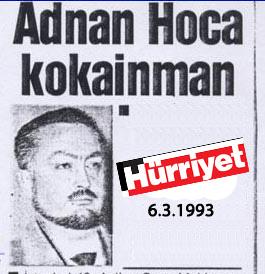 News of Adnan Oktar's arrest for cocaine possession.