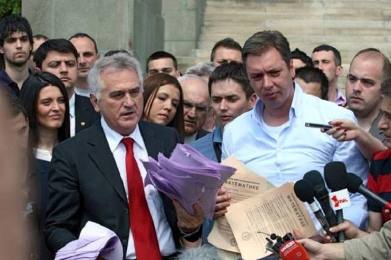 Progressives President Tomislav Nikolic with Vucic.