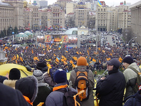 "Ukraine's ""Orange Revolution"" began on November 22, 2004, when some 500,000 people filled Maidan Square in Kiev to protest election fraud."