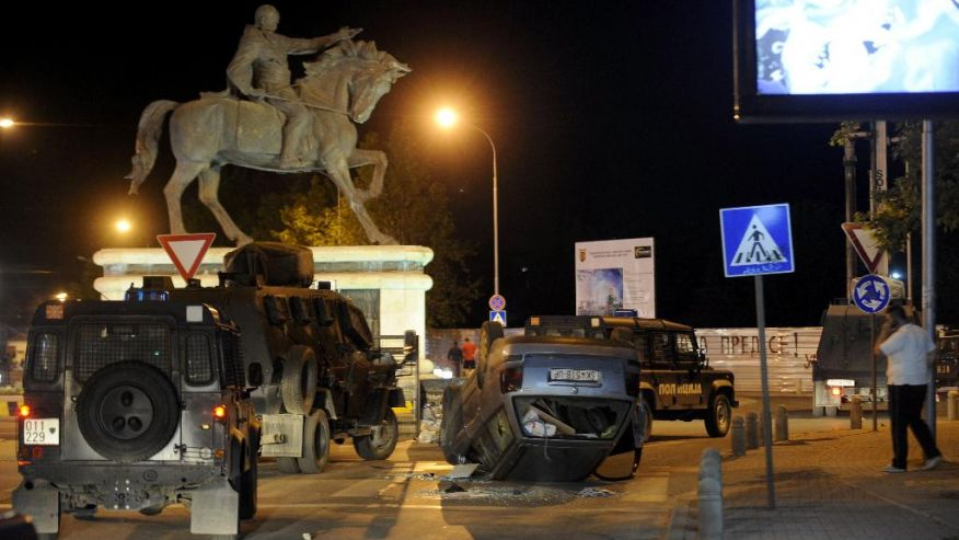Skopje, after riots in May. (Photo credit: AP Photo/Boris Grdanoski)