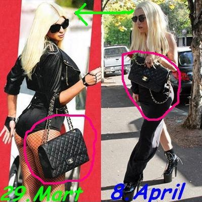 Here, Gaga is seen rocking a near-identical look to JK - right down to the same bag - just 11 days after the original photo was taken.