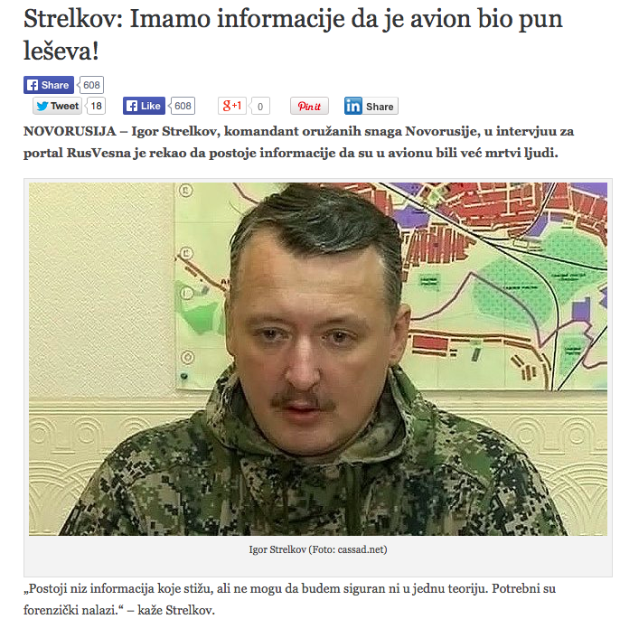 """""""Strelkov: We have information that the plane was full of corpses!"""" (Photo credit: Pravda.rs)"""