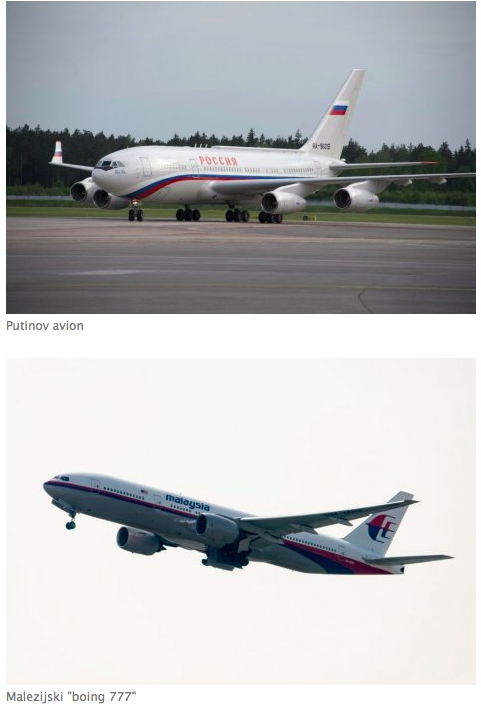 Blic wants you to know that Putin's plane and the Malaysian Airlines plane look a little bit similar.