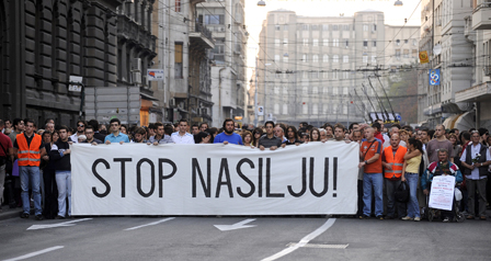 """Stop Violence"". Protest in Belgrade, Serbia, October 1, 2009."