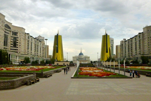 View of the Millennium Alley, a section of Astana's left bank that stretches on an axis from the presidential palace Ak Orda (seen here in the depth of the photo) to the Norman Foster-designed entertainment and shopping complex, Khan Shatyr.