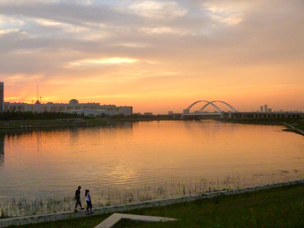 The Ishim river, with a view of the House of Ministries in the background.
