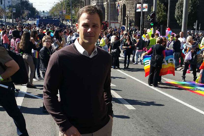 Belgrade Mayor Sinisa Mali, probable PhD plagiarist, posing at the Pride Parade.