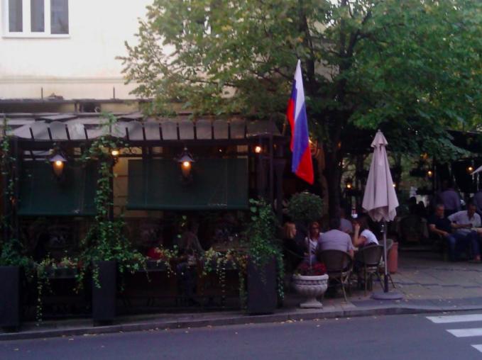 Mali Princ, a popular cafe in central Belgrade, is celebrating Putin's arrival today.