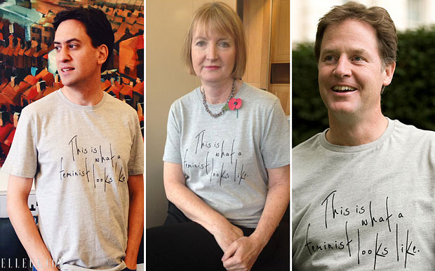 Ed Miliband, Harriet Harman, and Nick Clegg. (Photo: Elle.com/Harriet Harman)