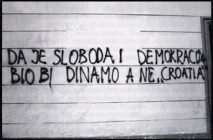 """If there would be freedom and democracy, it would be Dinamo and not 'Croatia'"" (Photo credit: www.zajednozadinamo.com)"