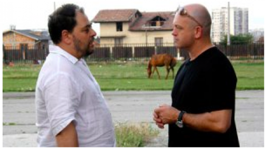 "Ross Kemp in Bulgaria: You can almost hear the producer hissing, ""quick, it's not a real Balkan interview without a horse in the frame!"""