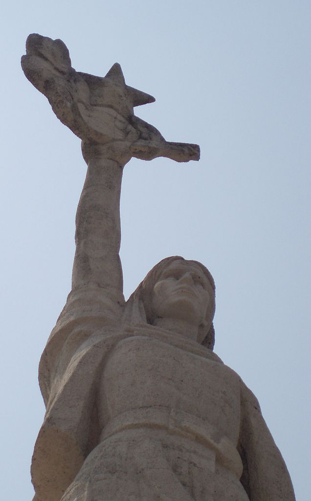 Mother Albania with a laurel wreath and five-pointed star, Tirana.