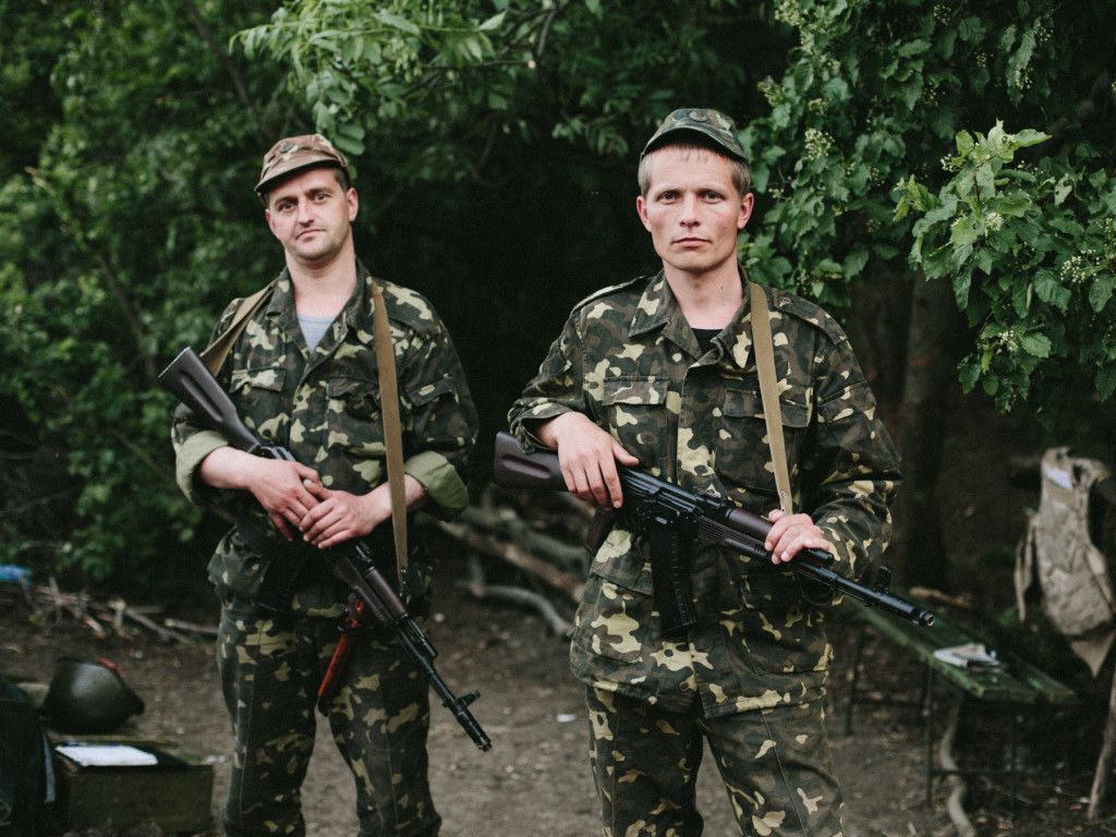 Ukrainian soldiers at their base in Zaporizhia Oblast, May 2014