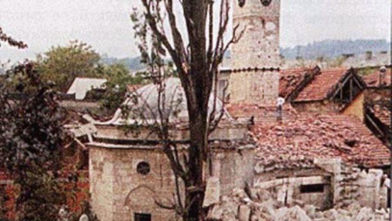 The Ferhadija Mosque demolished, 1993. Photo credit: Front Slobode.