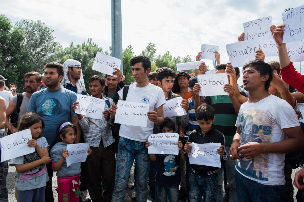 "Horgoš on Tuesday. ""Open the border!"": some refugees declared a hunger strike. Photo by author."