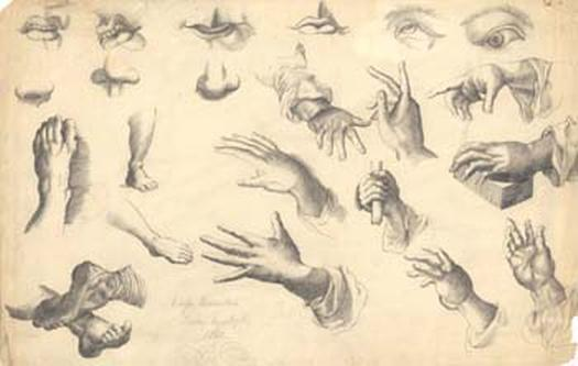 Odessa Quarantine, sheet of sketches of hands, feet, eyes, noses, lips, 1841. Artist unknown.