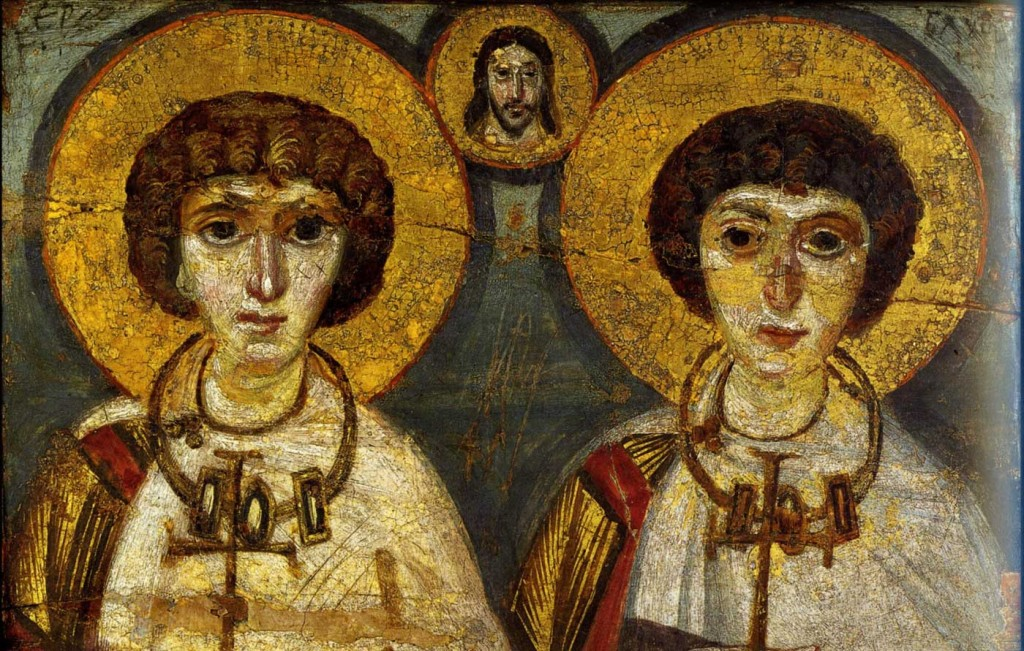 St. Sergius and St. Bacchus, the military martyrs, are depicted here in wedding garb with Christ presiding over their union. Marriages between men made frequent references to their memory. Icon originally from St. Katherine's monastery in Sinai, now in the Kyiv Museum of Art. (Image credit: http://andrejkoymasky.com)