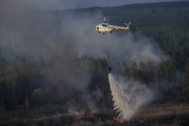 Fire in the Chernobyl Exclusion Zone, April 2015. Photo credit: Ukrainain Prime Minister's Office