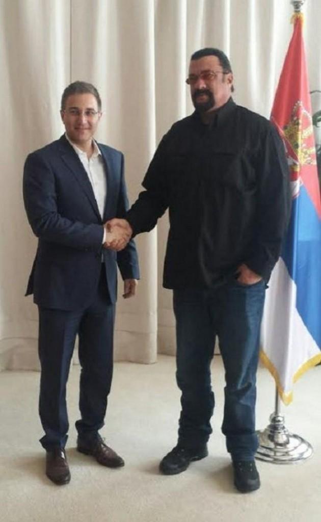 Interior Minister Stefanovic and Steven Seagal (Photo credit: Blic)