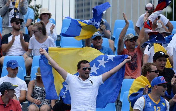 Bosnian fans supporting Dzumhur at the Australian Open in Melbourne (Photo credit: bosniansports.wordpress.com)