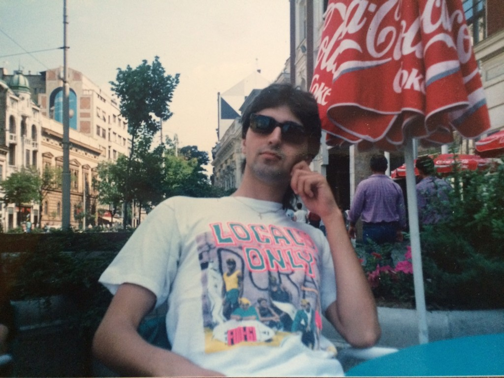 The author, hanging on to his best '80s look, in July, 1990 on Terazije in central Belgrade.