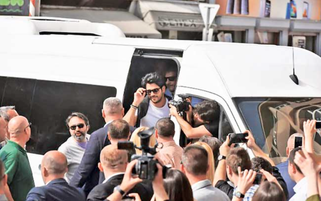 Turkish actor Burak Özçivit arrives in Novi Pazar ahead of this weekend's elections in Serbia.