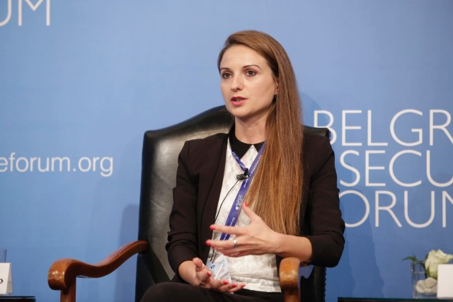 Dragana Pećo of Belgrade's Crime and Corruption Reporting Network (KRIK) at the Belgrade Security Forum