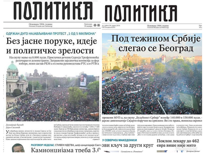 "Left: ""Without a clear message, idea and political maturity"" 7500 people (opposition rally), Right: ""Under the weight of Serbia, Belgrade has settled"" 150 000 people (government rally)"